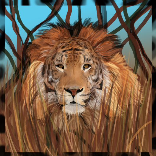 lion tiger jag adjust for user can change the use of amount of each face and change colour and background